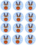 12 Rudolph Christmas Edible Cupcake Toppers