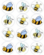 12 Bumble Bee rice paper fairy / cup cake 40mm toppers pre cut decoration