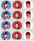 12 David Bowie Cupcake Toppers