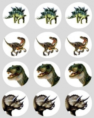 12 Dinosaur design rice paper fairy / cup cake 40mm toppers pre cut cake decoration