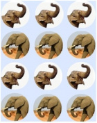 12 Elephant rice paper fairy / cup cake 40mm toppers pre cut decoration