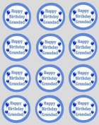 12 Happy Birthday Grandad rice paper fairy / cup cake 40mm toppers pre cut cake decoration