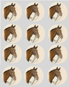 12 Horse Pony brown rice paper fairy / cup cake 40mm toppers pre cut decoration