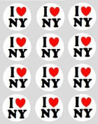 12 I Love New York design rice paper fairy / cup cake 40mm toppers pre cut decoration