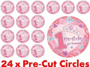 24 x 38mm Pre Cut Happy 1st First Birthday Circle Pink Princess Girl Fairy Muffin Cup Cake Toppers Decoration Edible Rice Wafer Paper
