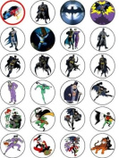 BATMAN 24 EDIBLE WAFER - RICE PAPER CAKE TOPPERS EACH DESIGN IS 40mm IN DIAMETER