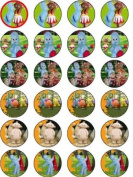 IN THE NIGHT GARDEN - 1 - 24 EDIBLE WAFER - RICE PAPER CAKE TOPPERS EACH DESIGN IS 40mm IN DIAMETER