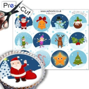 12 x PRE-CUT Christmas Cupcake Cake Toppers Decorations