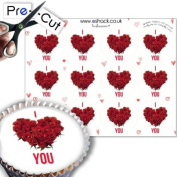 12 x Pre-Cut Valentines Day / Wedding Roses Heart Cupcake Cake Toppers Decorations