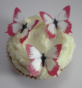 24 Pre Cut Edible Pink Butterfly Cupcake Toppers