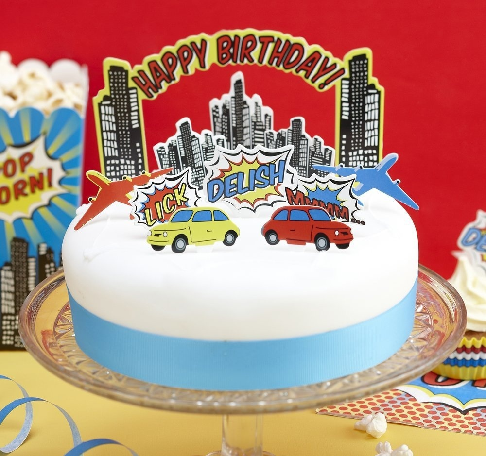 Ginger Ray Pop Art Superhero Party Birthday Cake Toppers Mixed By