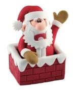 Christmas Cake Decoration Topper Claydough Santa In Chimney Top 70mm