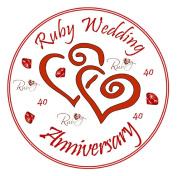 "Ruby Wedding Anniversary Cake Topper - Edible Icing 7.5"" 19cm Round - 40th Anniversary Cake Decoration - Ruby Wedding Cake Decoration"