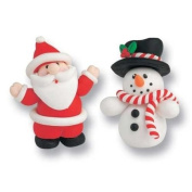 Santa and Snowman Christmas Cake Topper Decorations