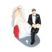 Bride & Groom Putting on Shoe Cake Topper