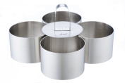 Shef Professional Stainless Steel Food Cooking Presentation Rösti Rings 4 Piece Set with Food Press