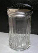 NEW - 1 x Glass Stainless Steel Chocolate Icing Sugar Flour Shaker Cappuccino Shaker Dispenser - Same Day Posting if Ordered by 12 Noon Weekdays.