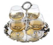 Brandy Cognac Glasses on Silver Plated Tray with handle, special finish that never needs polishing,includes 4 glasses