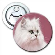 Long haired White Cat Bottle Opener Fridge Magnet