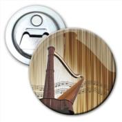 Wooden Harp with Reflection on Musical Notes Bottle Opener Fridge Magnet