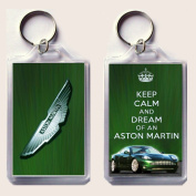 """KEEP CALM and DREAM of an ASTON MARTIN Keyring printed on an image of an Aston Martin DB9 on one side and the iconic Aston Martin badge on the other, from our Keep Calm and Carry On series - an original """"sorry I couldn't get you the real thing"""" Father' .."""