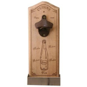 Wooden Wall Mounted Cuisine Bottle Opener Vintage Style