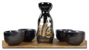 Sake set Japanese metallic black & gold Fortune calligraphy 4 cups
