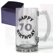 Happy 70th Birthday Glass Celebration Tankard Boxed