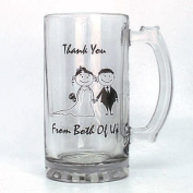 Top Quality Bride and Groom Thank You Glass Wedding Tankard in Gift Box