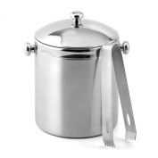 Weis 16823 Double Wall Ice Bucket Stainless Steel with Lid and Tongs 16 x 11 x 11 cm