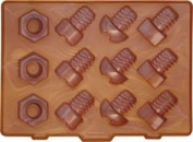 Kitchen Craft BCLIICTBOLTS Lock in Nuts and Bolts Silicone Ice Cube Tray