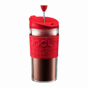 BODUM Travel Press Set Coffee Maker with Extra Lid, 0.35 Litre/ 350ml, Red