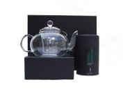 Glass Teapot Gift Set with Organic Dragon Well - Lung Ching - Pressed Leaf Green Tea 100g Caddy