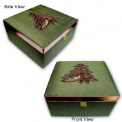 Christmas Jewellery MDF Box In Silk Satin Fabric From India. Cbox0278