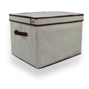 Regular Cream Folding Linen Storage Box / Laundry Basket