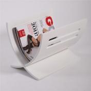 DESIGN NEWSPAPER & MAGAZINE RACK HOLDER basket white or dark brown wood from XTRADEFACTORY white