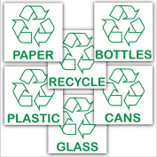Recycling Adhesive Stickers Value Pack-Recycle Logo Signs-Paper,Glass,Bottles,Cans,Plastic,Recycle Designs Environment Labels