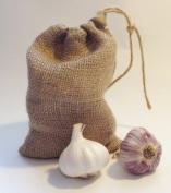 3 Drawstring Hessian Garlic Storage Bags 14 x 20cm