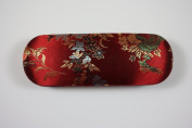Dark Red Floral Silk Embroidery Decorations, Decorative Glasses Case