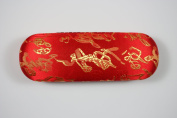 Red and Gold Silk Embroidery Decorations, Decorative Glasses Case