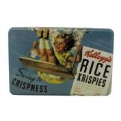 Vintage Kelloggs Rectangular Storage Tin Blue Rice Krispies Design