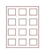 Coin box with 12 compartments, each 57 x 50 mm [Lindner 2605] Rauchglas