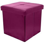 Fuchsia Pink Button Folding Storage Pouffe Seat Ottoman Toy Chest Box With Lid