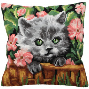 Minou Pillow Cross Stitch Kit-38cm - 1.9cm x 40cm