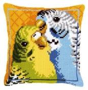 Cross Stitch Cushion Budgies
