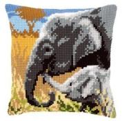 Cross Stitch Cushion Elephants