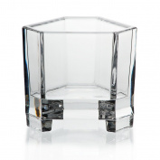 "Candle holder, titular candles, votive holder, lead crystal, transparent, Collection ""TRIANGEL"", tealight holder, 8 cm, modern style"