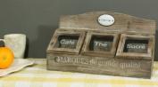 Wood And Glass Tea Coffee Sugar Storage Box - Distressed Wood