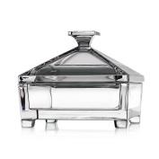 "Crystal Sweets Jar, Food Storage Jar, Cookie Jar, Biscotti Storage Jar Collection ""VENEZIA"", cuadrada, Sweets, transparent crystal, 15,5x15,5 cm"