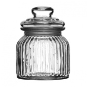Costine Small Storage Jar Made Of Ribbed Glass Material With 680ml Capacity